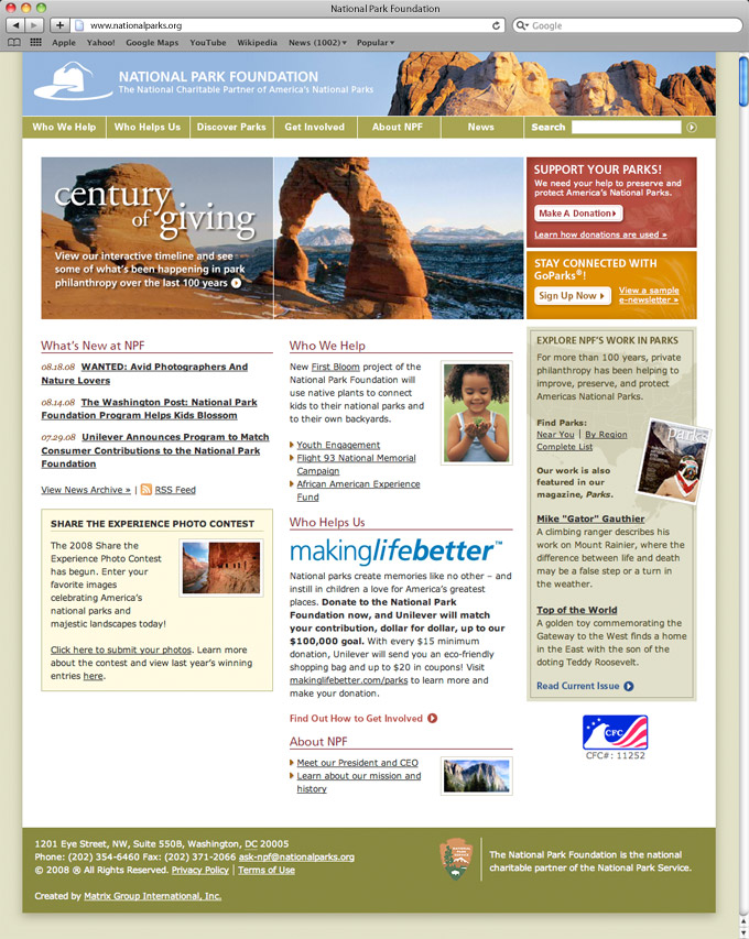 National Park Foundation (NPF) Home Page