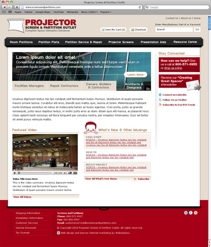 Projector Screen Home Page